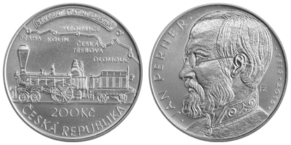 Commemorative silver coin to mark the 200th anniversary of the birth of Jan Perner