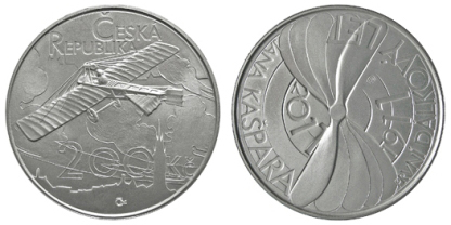 Commemorative silver coin to mark the 100th anniversary of the first long-distance flight by Jan Kašpar