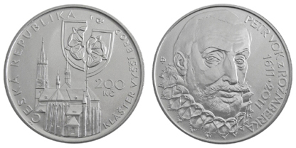 Commemorative silver coin to mark the 400th anniversary of the death of Petr Vok of Rožmberk