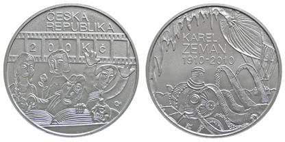 Commemorative silver coin to mark the 100th anniversary birth of director Karel Zeman