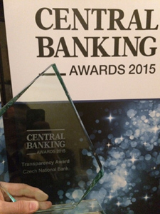Ocenění Central Banking Transparency Award 2015.