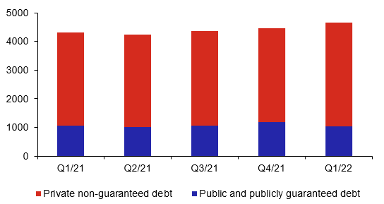 External debt of public and private sectors